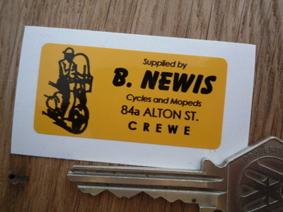 "B. Newis Crewe Cycles & Mopeds Dealers Sticker. 2""."