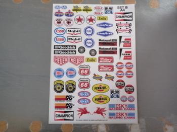 Model Racing Slot Car Sticker Set B. American.