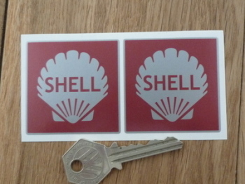 """Shell Red & Silver Square Stickers. 2"""" Pair."""