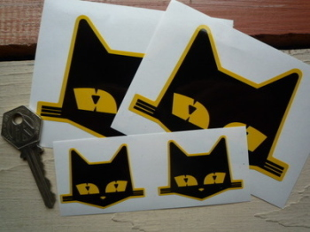 "SEV Marchal Cats Head Stickers. 2"", 3"", 4"", 6"" or 8"" Pair."