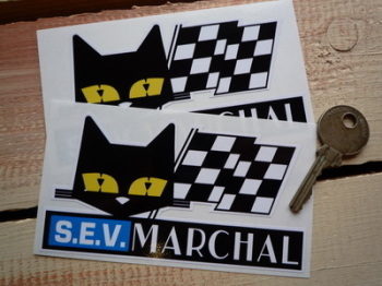 "SEV Marchal Cat & Script Stickers. in Matra. 4.5"" or 7.5"" Pair."