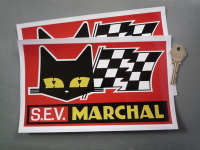 "SEV Marchal Cat/Flag Red Background Stickers. 9"" Pair."