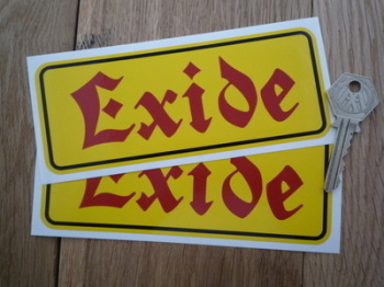 "Exide Style 2 Red Text Battery Stickers. 2.5"" or 6"" Pair."