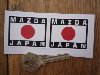 "Mazda Japan Hinomaru Style Stickers. 2"" Pair."