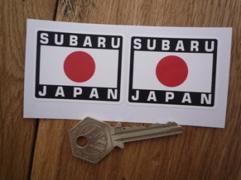 "Subaru Japan Hinomaru Style Stickers. 2"" Pair."