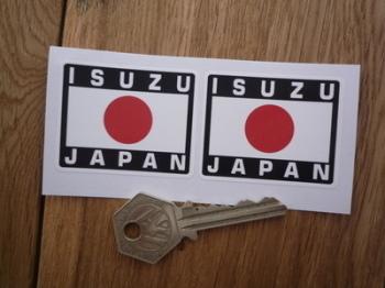 """Isuzu Japan Hinomaru Style Stickers. 2"""" Pair."""