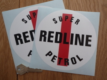 "Redline Super Petrol Circular Stickers. 4"" or 6"" Pair."