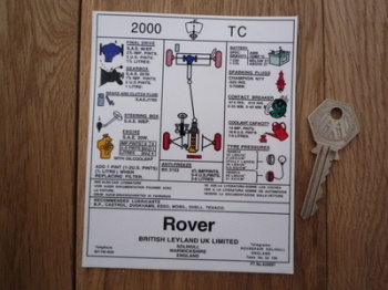 "Rover P6 2000 TC Under Bonnet Service Info Special Offer Sticker. 5""."