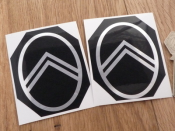 "Citroen Black & Foil Chevron Special Offer Stickers. 3"" Pair."