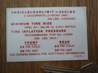 "Opel GT Vehicle Load Limit & Tire Pressure Special Offer Sticker. 3""."