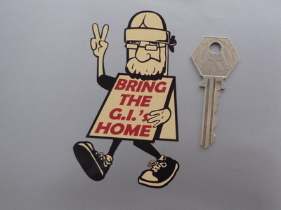 "Bring The GIs Home Protester Sticker. 4""."