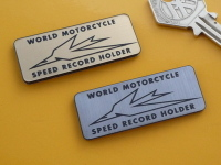 "Triumph World Motorcycle Speed Record Holder Self Adhesive Bike Badge. 2""."