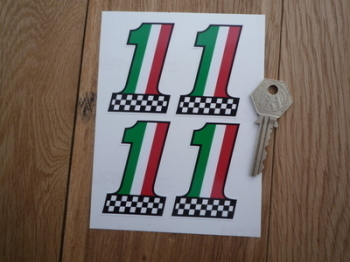 "Italian Flag & Chequered No. '1' Stickers. Set of 4. 2.5""."