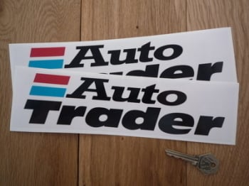 "Auto Trader Oblong Clear or White  Background Stickers. 10"" Pair."