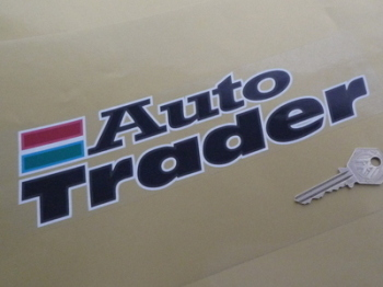 "Auto Trader White Detail Oblong on Clear Background Stickers. 10"" Pair."
