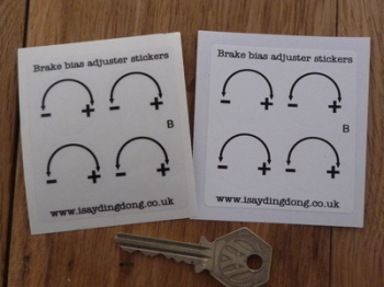 Racing Car Brake Bias Adjuster Stickers. 25mm. Set of 4.