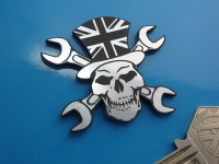 Skull & Cross Spanner in Union Jack Top Hat Self Adhesive Badge. 2
