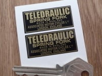 "Teledraulic Spring Fork Made in England Stickers. 1.5"" Pair."
