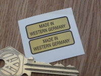 Made in Western Germany Black & Gold Oblong Stickers. 1.25