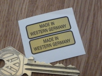 "Made in Western Germany Black & Gold Oblong Stickers. 1.25"" Pair."
