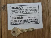 Dellorto Italian Filter Wash Instruction Stickers. 80mm Pair.