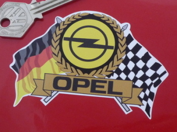 "Opel Flag & Scroll Sticker. 4""."