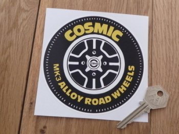 "Cosmic Mk3 Alloy Road Wheels Tyre Sticker. 4.25""."
