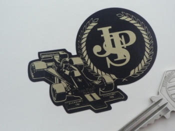 "John Player Special Lotus JPS Black & Gold Logo & F1 Car Sticker. 3"", 5"" or 7""."