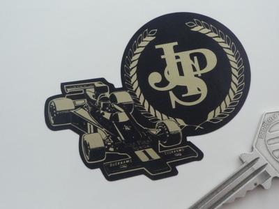 "John Player Special Lotus JPS Black & Gold Logo & F1 Car Sticker. 3"", 5"" or 7""."