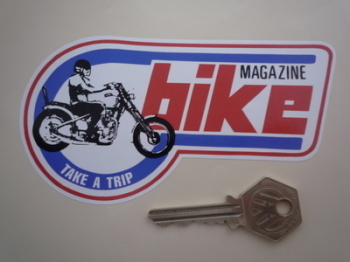 "Bike Magazine, Take a Trip, Shaped Sticker. 5""."