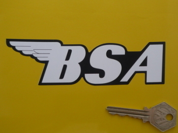 """BSA Shaped Black & White Text Stickers. 6"""" Pair."""