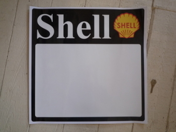 "Shell Race Car Door Panel Earlier Style Stickers. 19.5"" Pair."