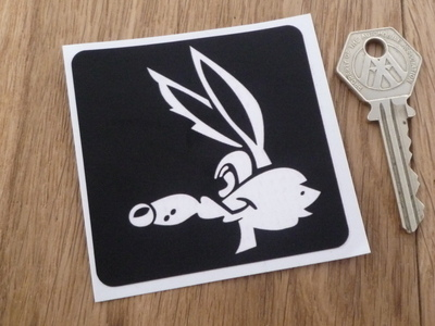 "Wile E. Coyote Black & White Sticker. 2.75""."