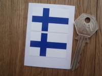 Finnish Flag Oblong Stickers. 40mm Pair.