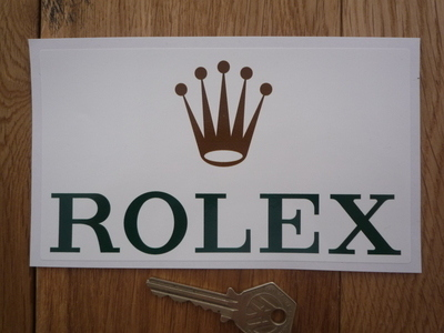 "Rolex Sponsors Oblong Sticker. 6""."