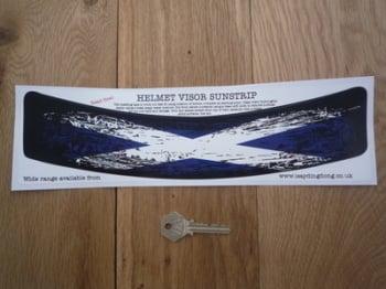 "Scotland Saltire Flag Worn & Distressed Style Curved Helmet Visor Sticker. 12""."