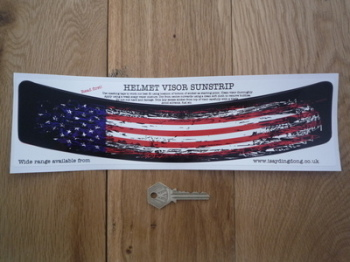 "USA Stars & Stripes Worn & Distressed Style Helmet Visor Sunstrip Sticker. 12""."