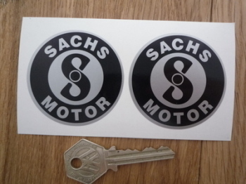 Sachs Motor Black & Silver Circular Stickers. 55mm Pair.