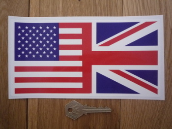 "Union Jack & USA Stars & Stripes Combined Flag Sticker. 4"" or 8""."