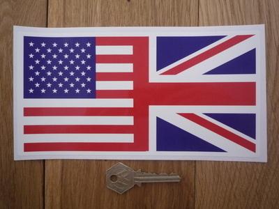 "Union Jack & USA Stars & Stripes Combined Flag Sticker. 4"" or 8""."