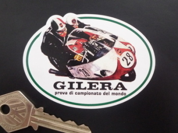 "Gilera Racing Duo Shaped Sticker. 3.25""."