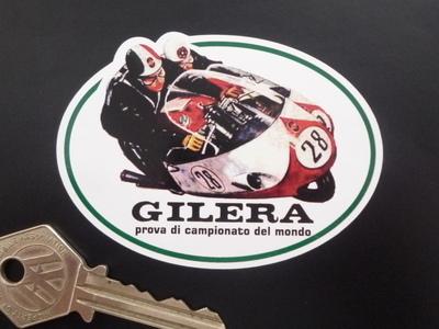 """Gilera Racing Duo Shaped Sticker. 3.25""""."""