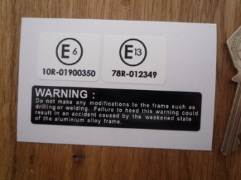 Suzuki Frame Labels. E6 & E13. White. Set of 3 Stickers.