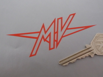 "MV Agusta 'MV' Logo Cut Vinyl Stickers. 4"" Pair."
