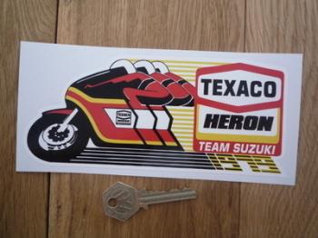 "Texaco Heron Team Suzuki 1979 Bike Racing Barry Sheene Wil Hartog Shaped Sticker. 7""."