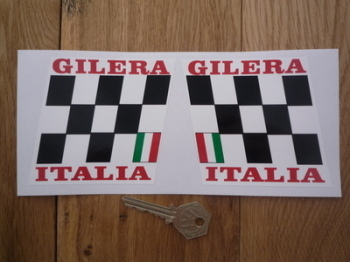 "Gilera Italia Chequered Handed Stickers. 3.5"" Pair."