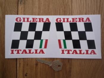 "Gilera Italia Chequered Handed Stickers. 3.5"" Pair."