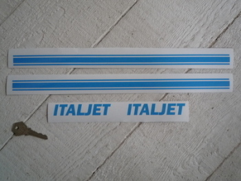 "Italjet Cut Vinyl 4"" Text & 15"" Stripes Stickers. Set of 4."
