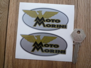 "Moto Morini Oval Stickers. 3.5"" Pair."