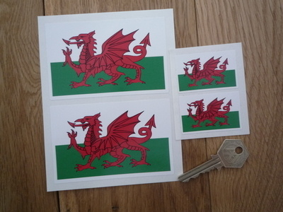 Welsh Dragon Flag Stickers. Set of 4,